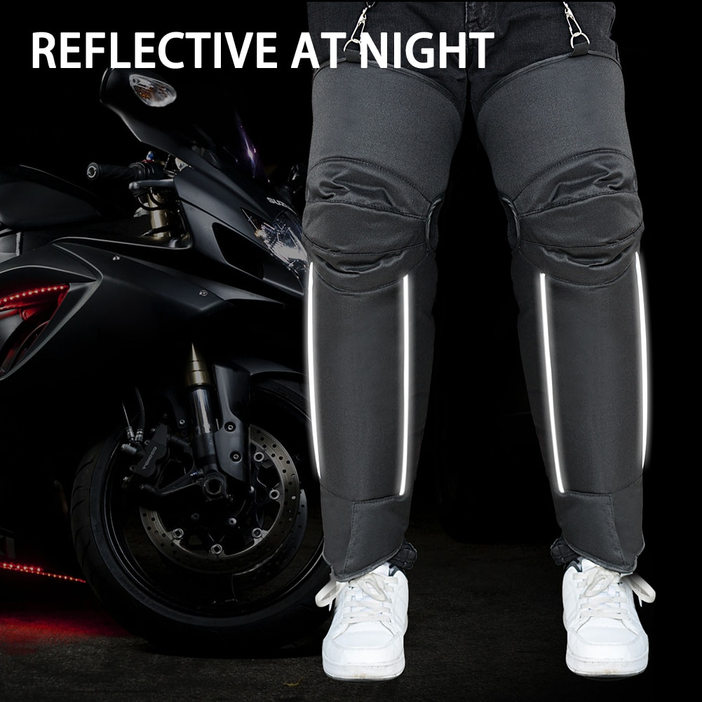 Waterproof Warm Winter Motorcycle Rider Knee Pads Thickened Oxford Cloth Warm Knee Pads with Reflective Long Knee Pads enlarge