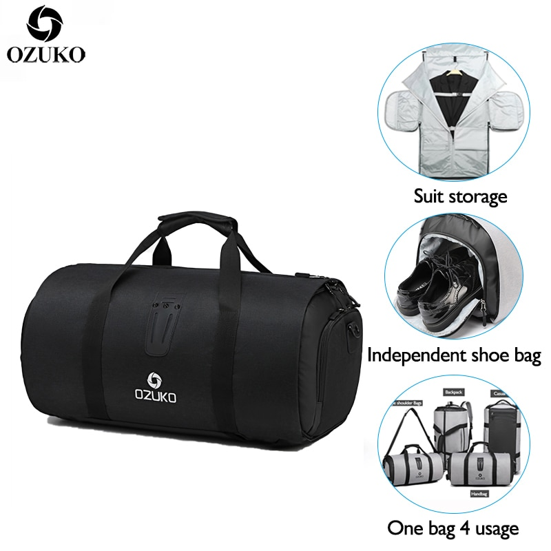 OZUKO جديد سعة كبيرة حقيبة سفر متعددة الوظائف مقاوم للماء حقيبة ظهر قطنية لرحلة دعوى تخزين حقائب اليد الأمتعة مع الحقيبة الحذاء