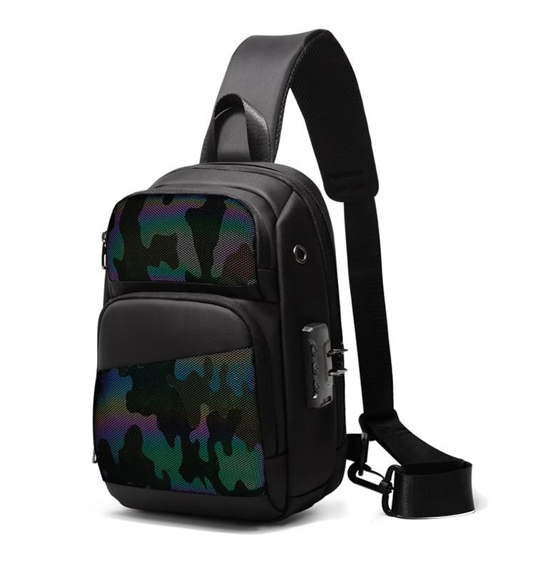 NANCY TINO Men's Chest Bag Luminous Series Colorful Reflective USB Anti-theft Waterproof Shoulder Cross-body Bag