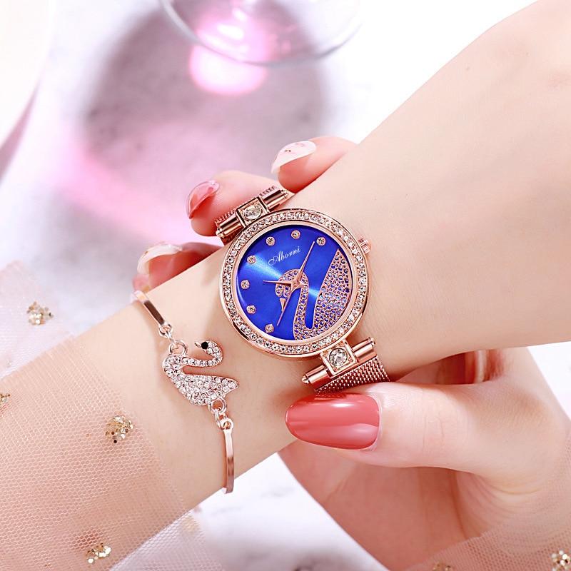 TurnFinger reloj de moda para mujeres hermoso Simple moda personalidad ocio de gama alta Diamante de lujo decoración Set Skmei2020
