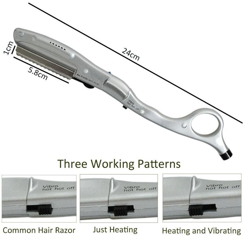 Electric Hair Razor Ultrasonic Hot Vibrating Heating Razor For Haircut Human Hair Beauty Hair Extension Tool Eu Plug enlarge