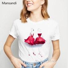 Illustration de fleurs rouge rose jupe imprimer t-shirt femmes vêtements 2019 vogue t-shirt femme harajuku chemise summmer hauts t-shirt