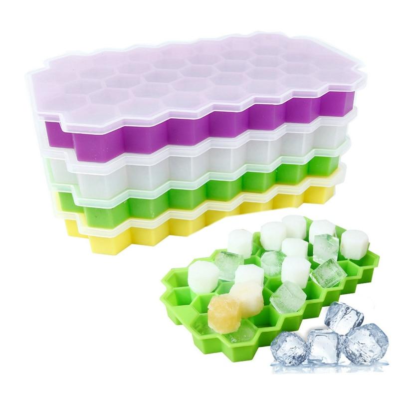 Bandeja de cubitos de hielo para refrigerador de hogar, bandeja de silicona Flexible, molde tipo panal