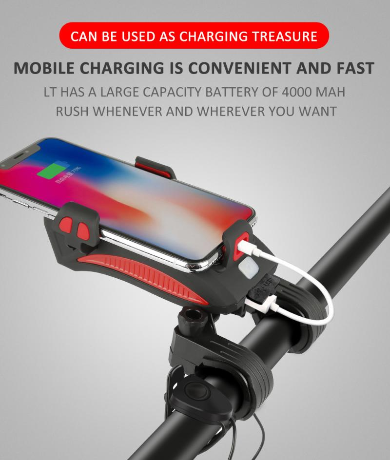 Soporte para teléfono móvil multifuncional para luz de bicicleta 4 en 1 soporte para faro delantero de montar soporte fijo para montar en bicicleta con carga USB