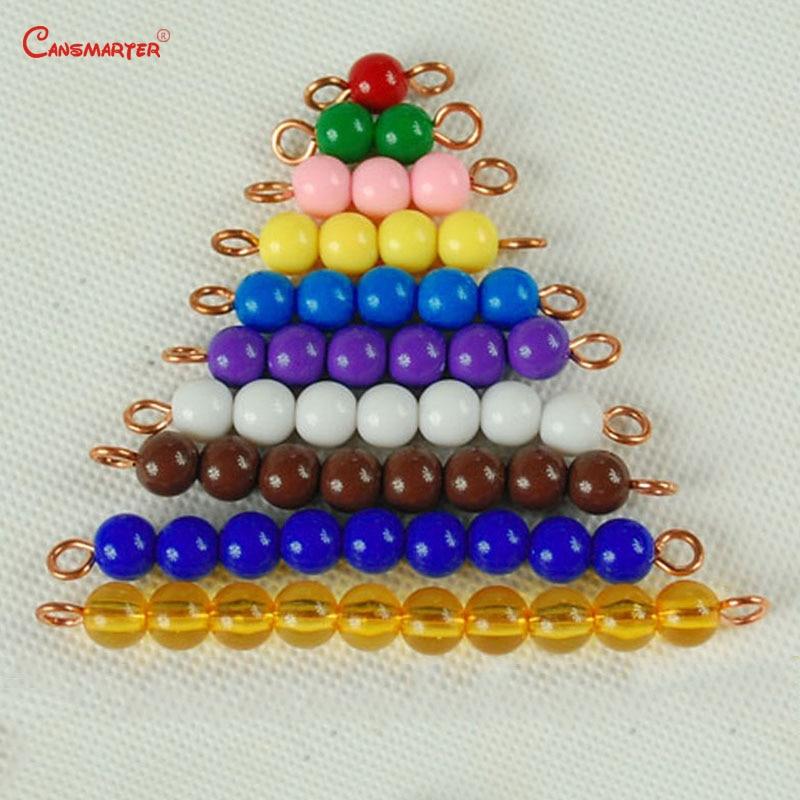 Математические бусины Монтессори, учебные материалы по методике Монтессори, разноцветные бусины, детские игры, дошкольные учебные пособия