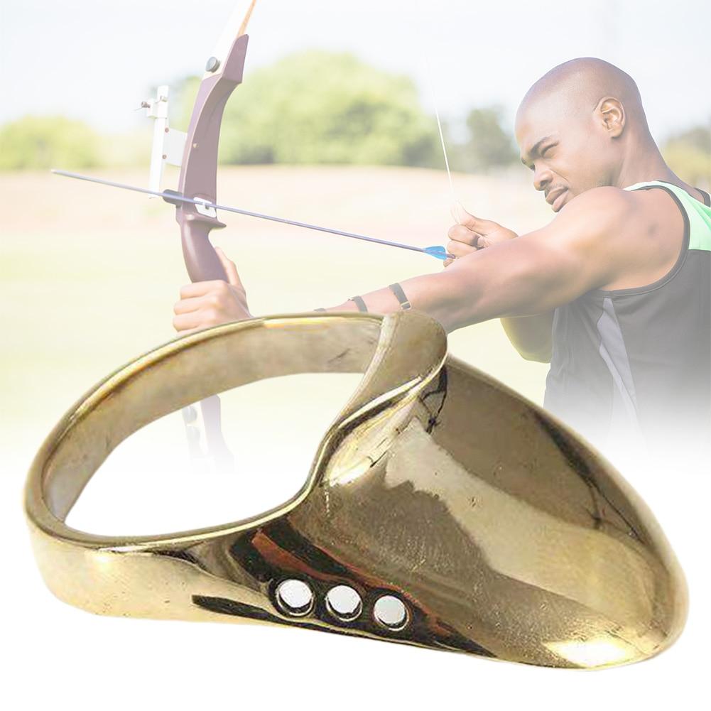 Protector de dedo de latón de muñeca tradicional deportivo, Catapulta de caza, accesorios seguros, arco, tiro con arco, anillo de pulgar, práctica indolora