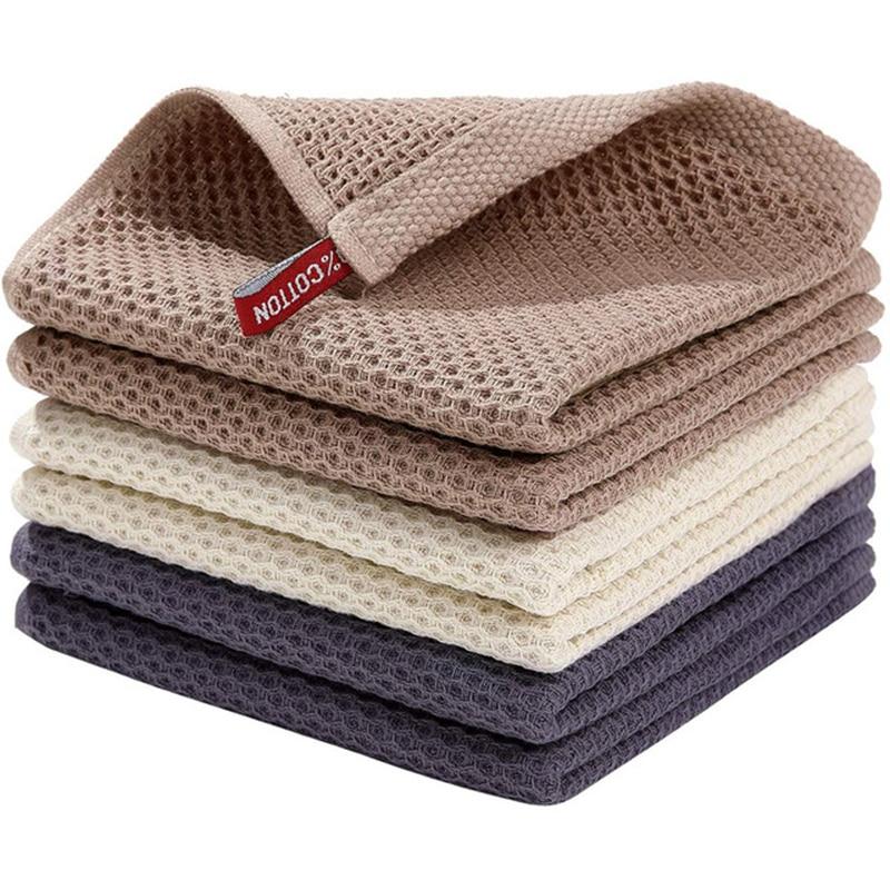 Чистящая ткань, бытовая прочная впитывающая тряпка, вафельная ткань, Быстросохнущий мягкий инструмент для уборки дома, чистящие полотенца