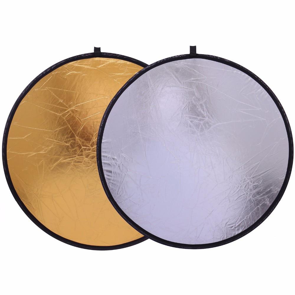 Светоотражатель для фотостудии 60 см, складной портативный многодисковый отражатель 2 в 1 для фотостудии, золото и серебро