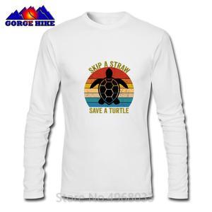 Skip A Straw Save A Turtle Shirt Gift Harajuku Design T-shirt Hombre Personalized Casual T shirt Crewneck Men Cotton Top Tshirt