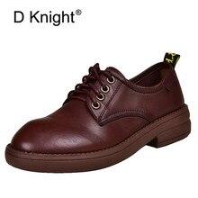 Printemps été 2020 nouvelles chaussures plates bout rond en cuir à lacets mode à semelle souple Oxford chaussures pour femmes couche supérieure en cuir chaussures simples
