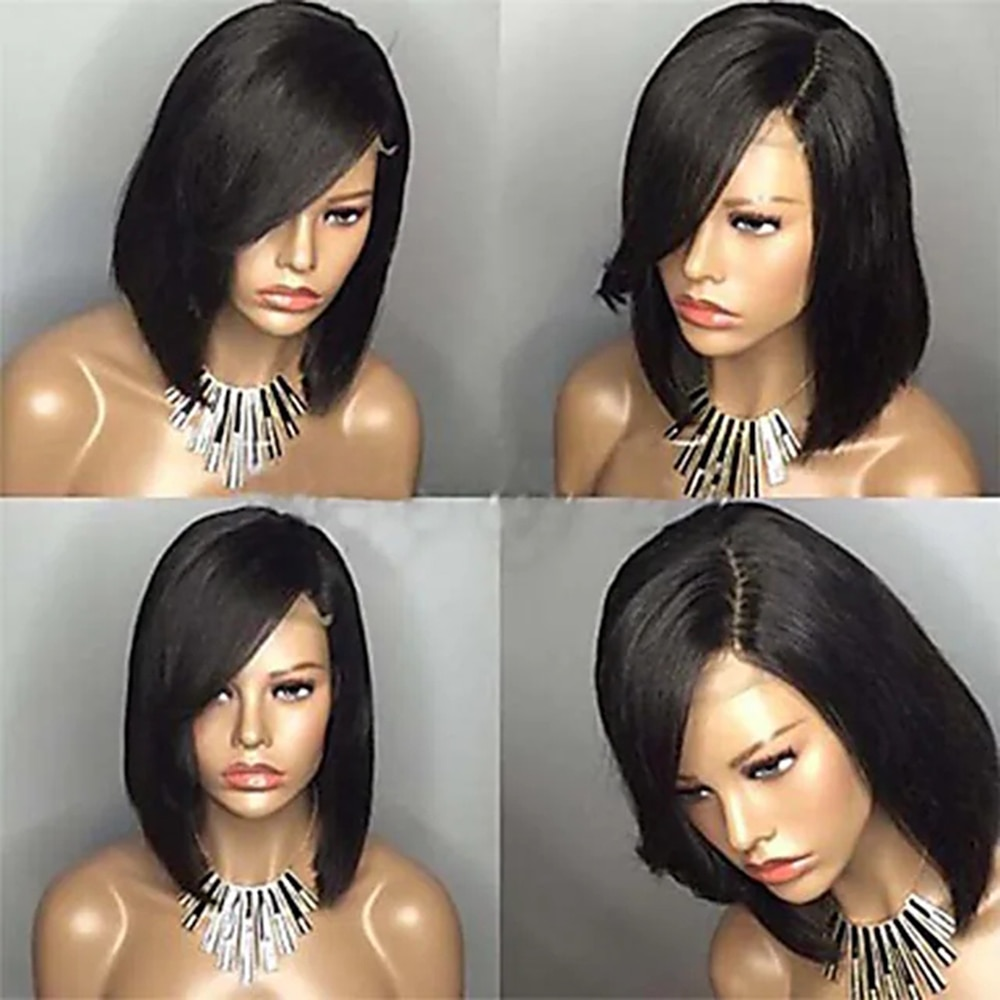 Human Hair Lace Front Wig Short Bob Free Part style Brazilian Hair Short Straight Silky Straight Black Costume Wig enlarge
