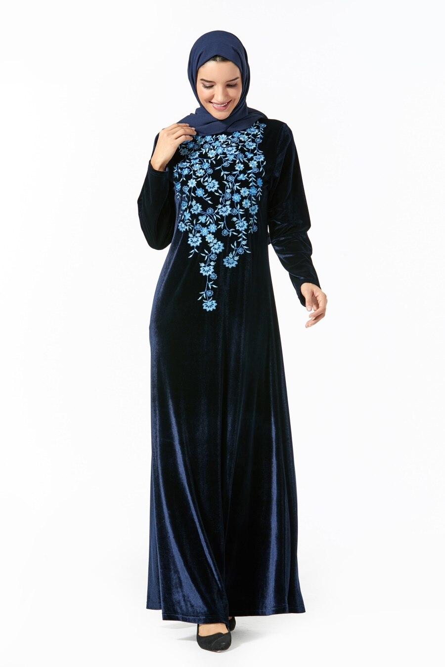 Siskakia Plus Size Chic Floral Embroidery Maxi Dresses Elegant O Neck Long Sleeve Swing Arabian Clothes Navy Blue Winter 2019 Dresses Aliexpress