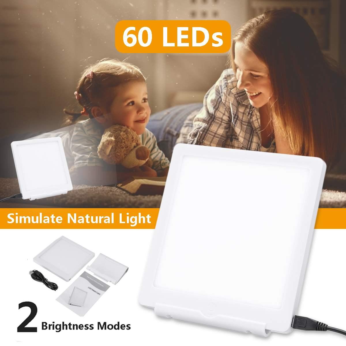 5V triste terapia lámpara Temporada 2 modos 6000/10000Lux luces de la noche la luz Natural del Día 60 uds LED Luz de terapia para tristeza de carga USB