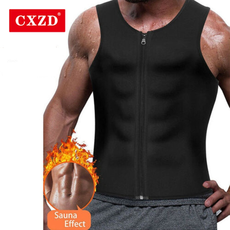 Cxzd colete de treinamento justo masculino, camiseta regata com zíper espartilho modelador de corpo para perda de peso de neoprene cintura modeladores