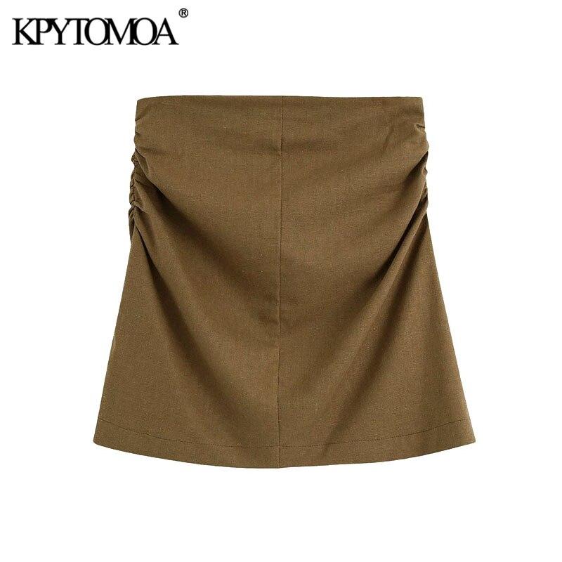 Kpytomoa 2020 moda lado plissado linho mini saia do vintage cintura alta voltar zíper saias femininas faldas mujer