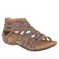 2021 summer womens sandals round toe hollow breathable flat sandals casual fashion leopard print new style another british styl