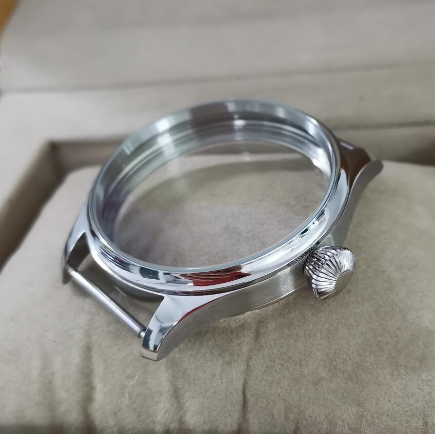 GEERVO لا شعار 41 مللي متر ليتل الطيار إسكان الساعة من الفولاذ المقاوم للصدأ الزجاج المعدني أو الياقوت الكريستال الماس شكل تاج