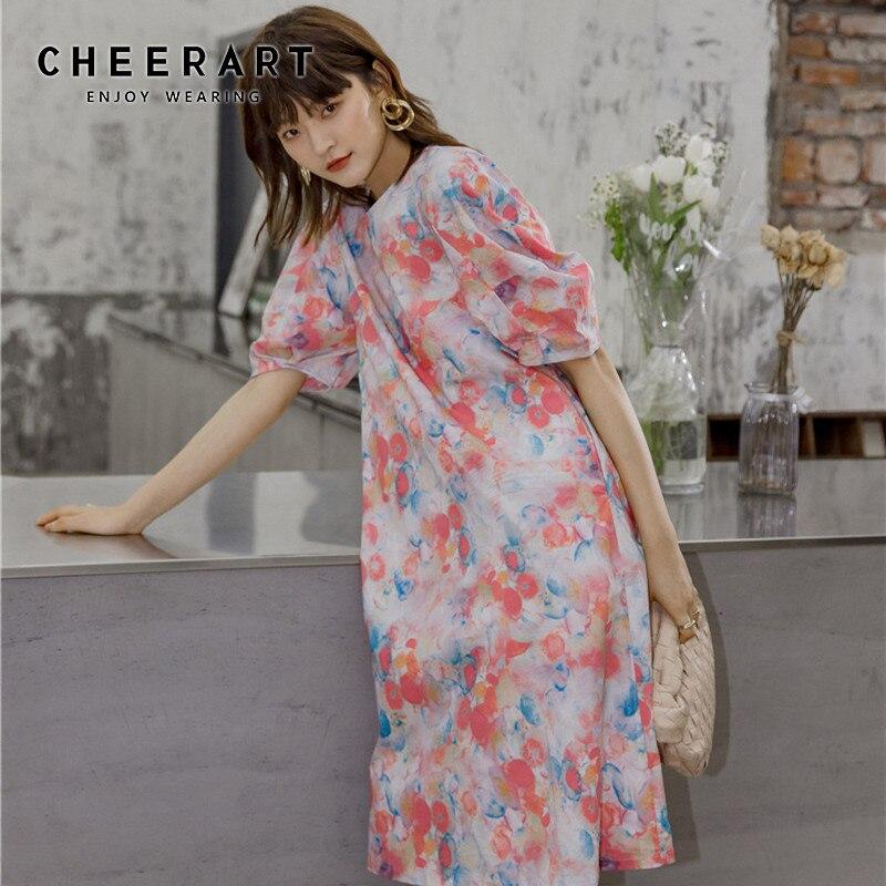 CHEERART Tie Dye Floral verano camiseta vestido mujeres Puff manga suelta elegante rodilla longitud vestido Casual coreano moda ropa