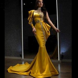 Gold Crystal Mermaid Evening Dresses 2021 One Shoulder Beaded Prom Dress High Collar Formal Dress Vestidos Formales
