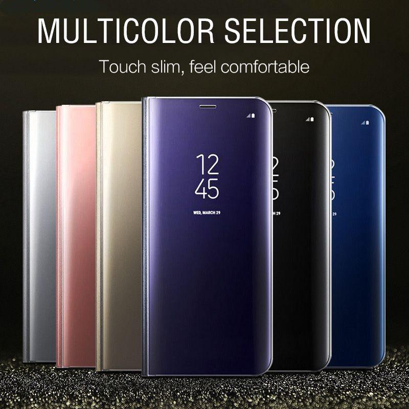 Funda transparente de lujo con espejo para Samsung Galaxy S9 S9 + S7 S8 + Note 8 Smart Mirror, Funda de cuero para S7 S6 Note8 J3 J5
