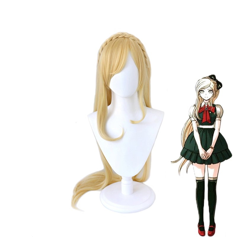 Anime Danganronpa Sonia no importa pelucas de Cosplay largo Rubio resistente al calor sintético Cosplay del pelo peluca + peluca Cap