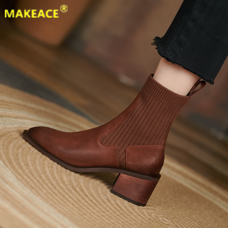 autumn winter men s chelsea boots british style fashion ankle boots black brown grey brogues soft leather casual shoes business Autumn Women's boots 2021 Winter leather midrange boots Fashionable Chelsea ankle boots outdoor casual platform shoes for women