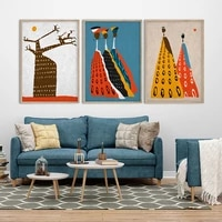 abstract african art painting modern boho style home decor canvas poster print baobab tree pictures for living room wall decor