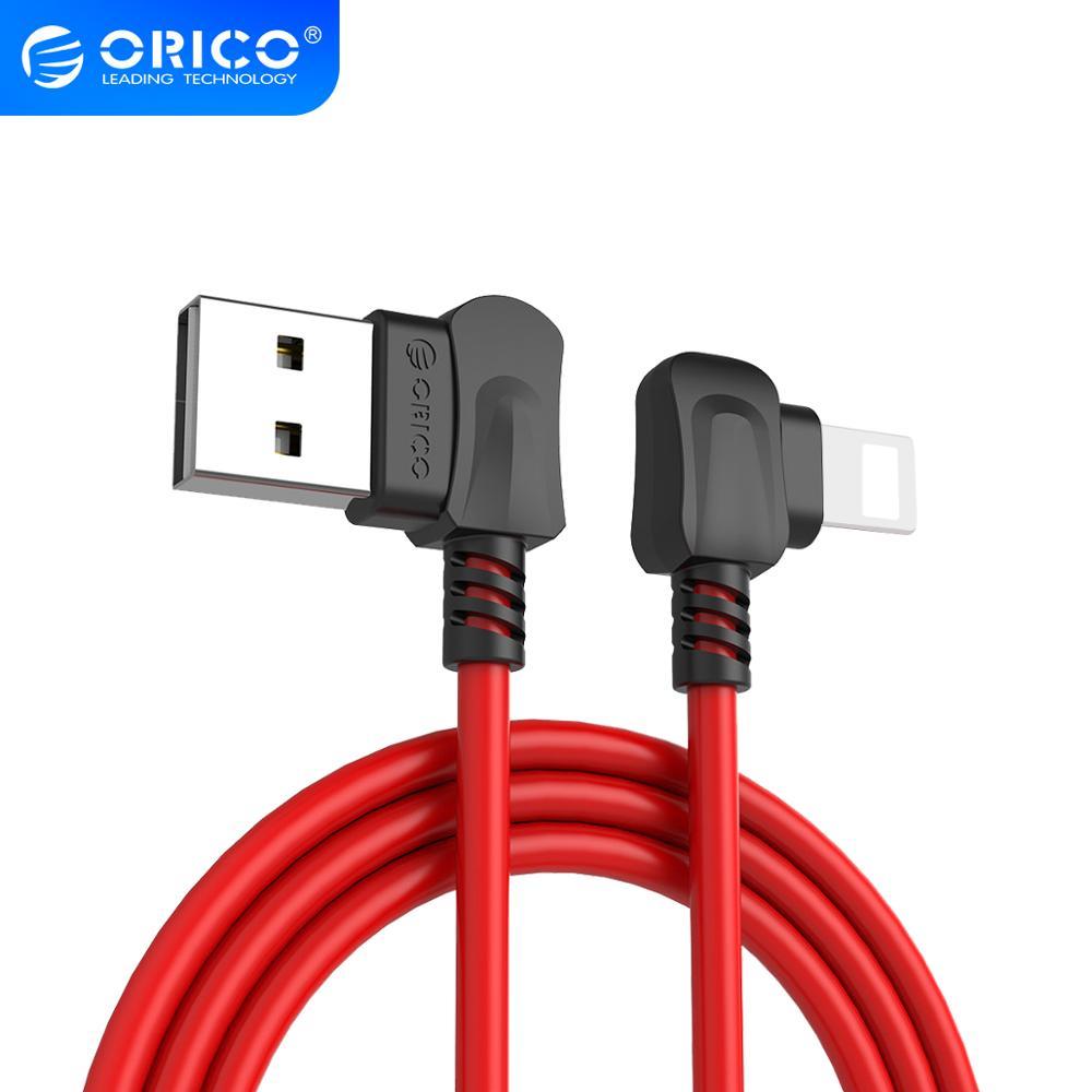 ORICO doblado en ángulo recto para Apple Lighting a Cable de carga USB para iPhone 7 8x6 Cable de datos USB para iPhone iPad TPE Red