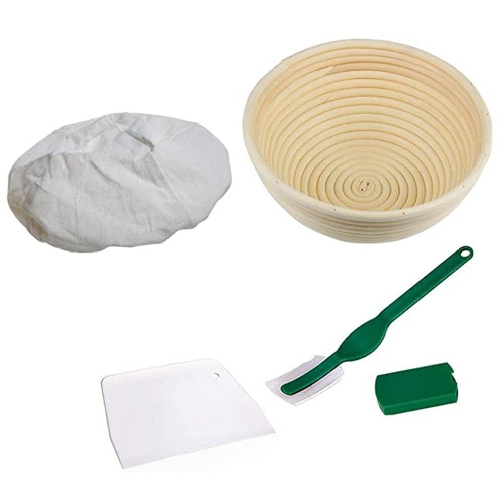 Juego de cestas de 9 pulgadas para pan, canasta de entrada de masa, raspador de masa, paño de lino para hornear pan con forma de masa