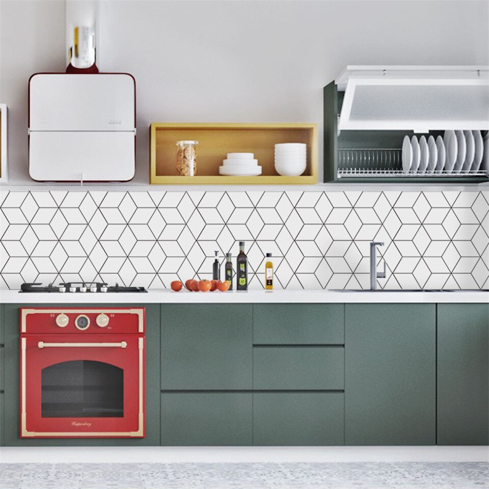 Adesivo de azulejos quadrados brancos, papel de parede impermeável, decoração nórdica para casa, banheiro e cozinha, mural de parede