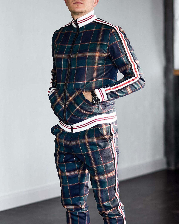 مجموعات رجالية ملابس رياضية رجالية قطعتين مخطط شعرية بدلة جودة عالية سليم كلاسيكي ملابس رياضية جاكيت زيبرا + بنطلون صغير موضة