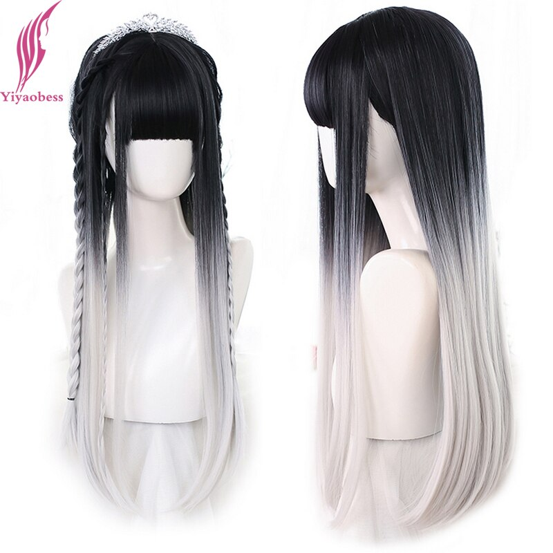 Yiyaobess Lolita Long Straight Black Grey Pink Ombre Cosplay Wig Synthetic Natural Hair Wigs For Women Pelucas De Mujer