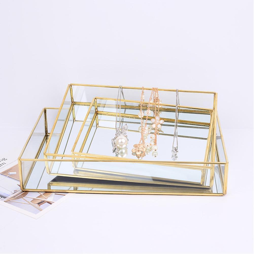 Nordic Retro Storage Box Tray Gold Rectangle Glass Makeup Organizer Tray Dessert Plate Make up Jewelry Display Home Decor