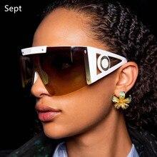 2021 New Luxury Brand One Piece Shield Sunglasses For Women Vintage Rimless Oversize Square Sun Glas