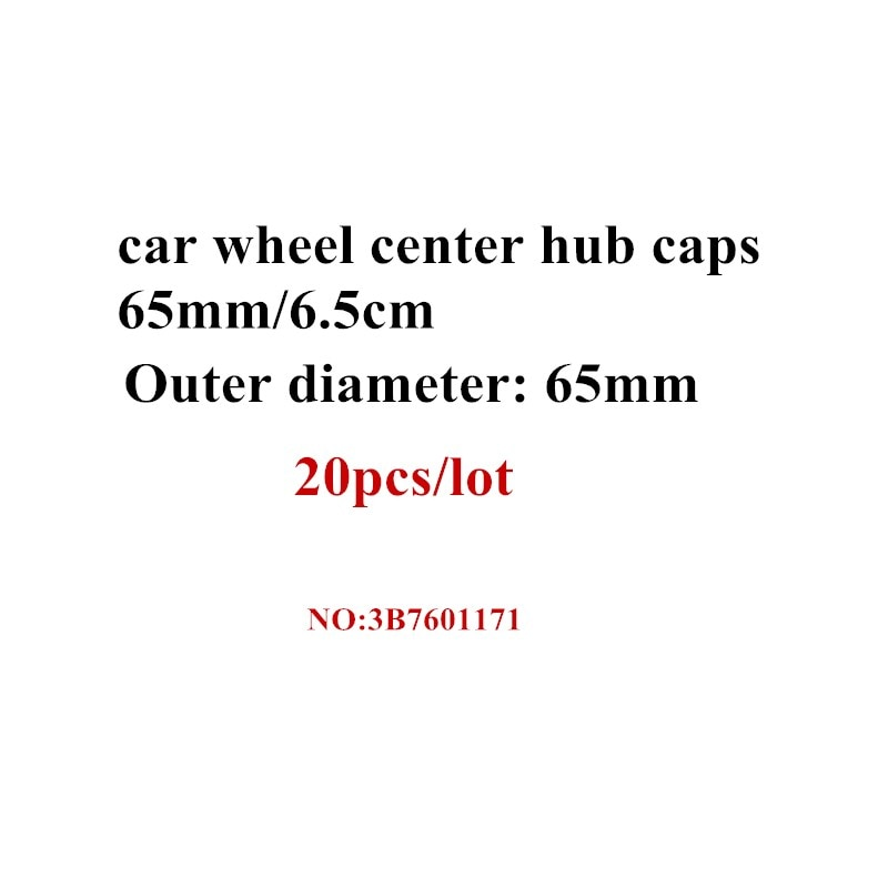 Tapa central de rueda de coche de 65mm de 20 piezas, tapa de cubo para Golf Jetta Mk5 Passat B6 #3B7 601 171, estilismo para coche