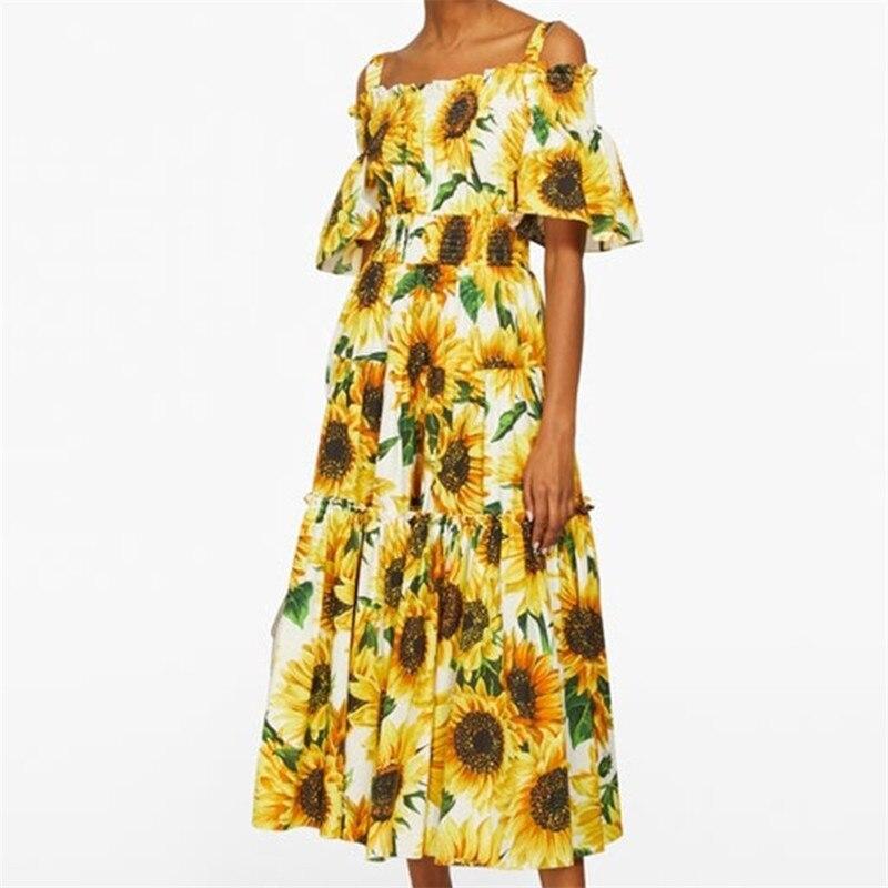 Vestido de verano con estampado de girasol de pasarela para mujer, escotado vestido con estampado floral, vestido largo, Boho, Swing, A080