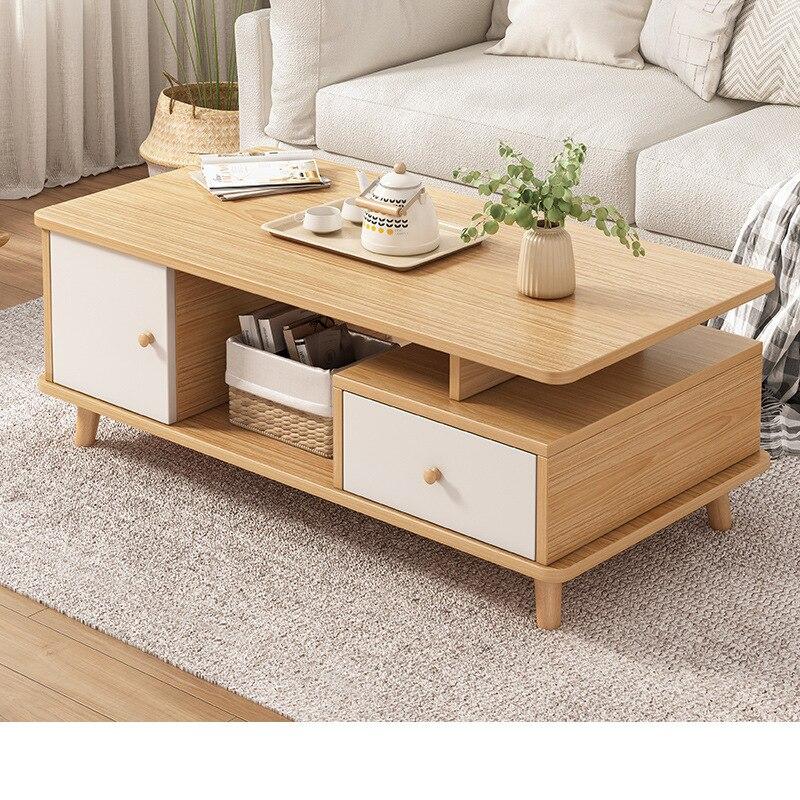 طاولة القهوة بسيطة الحديثة درج تخزين طاولة القهوة المنزل طاولة شاي خشبية الإبداعية طاولة الشاي أثاث غرفة المعيشة مكتب الجدول