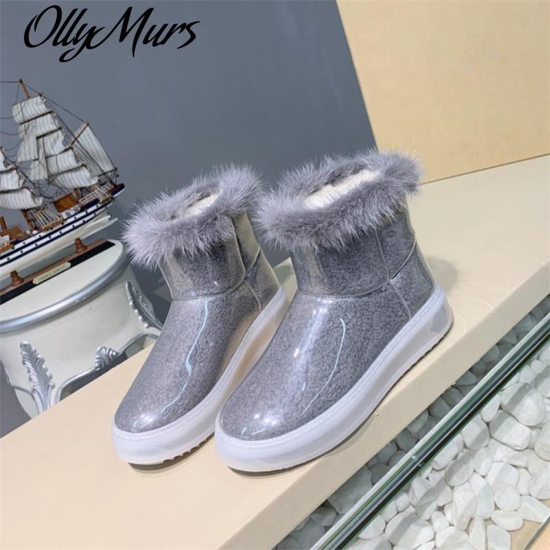 Ollymurs Snow Boots Shoes 2021 Flats Transparencies Botas De Mujer Chaussure Femme Warm Sapatos Femi