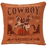 yggqf throw pillow cover western rodeo with cowboy sitting on rering horse decorative pillow case american retro style square