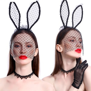 Rabbit Bunny Ears Headband With Lace Eye Black Sexy Hollow Halloween Masquerade Eye Mask Cosplay Costume Party Hair Accessories