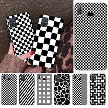 CUTEWANAN, carcasa de teléfono de lujo DIY a cuadros blanco y negro para Samsung A10 A20 A30 A40 A50 A70 A71 A51 A6 A8 2018