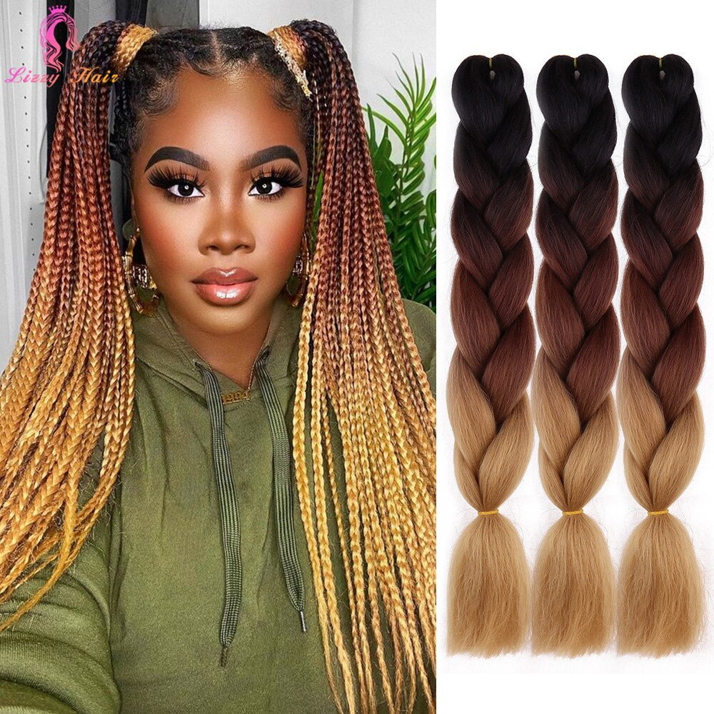 24inch 100g Synthetic Crochet Jumbo Braids Colorful Hair Ombre Braiding Extensions Braid Pink Purple Blue Grey