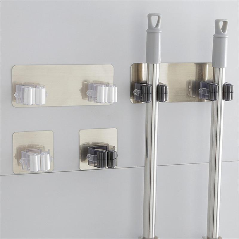 Gancho fuerte palo mágico adhesivo ganchos multiusos fregona organizador soporte escoba cocina ganchos de baño