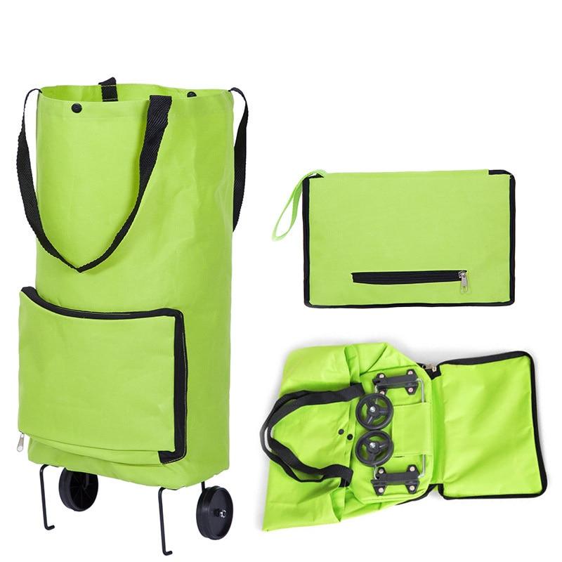 Bolso de compras plegable de carrito de tirón con ruedas de bolsos para compras reutilizables de bolsas de almacenamiento para compras