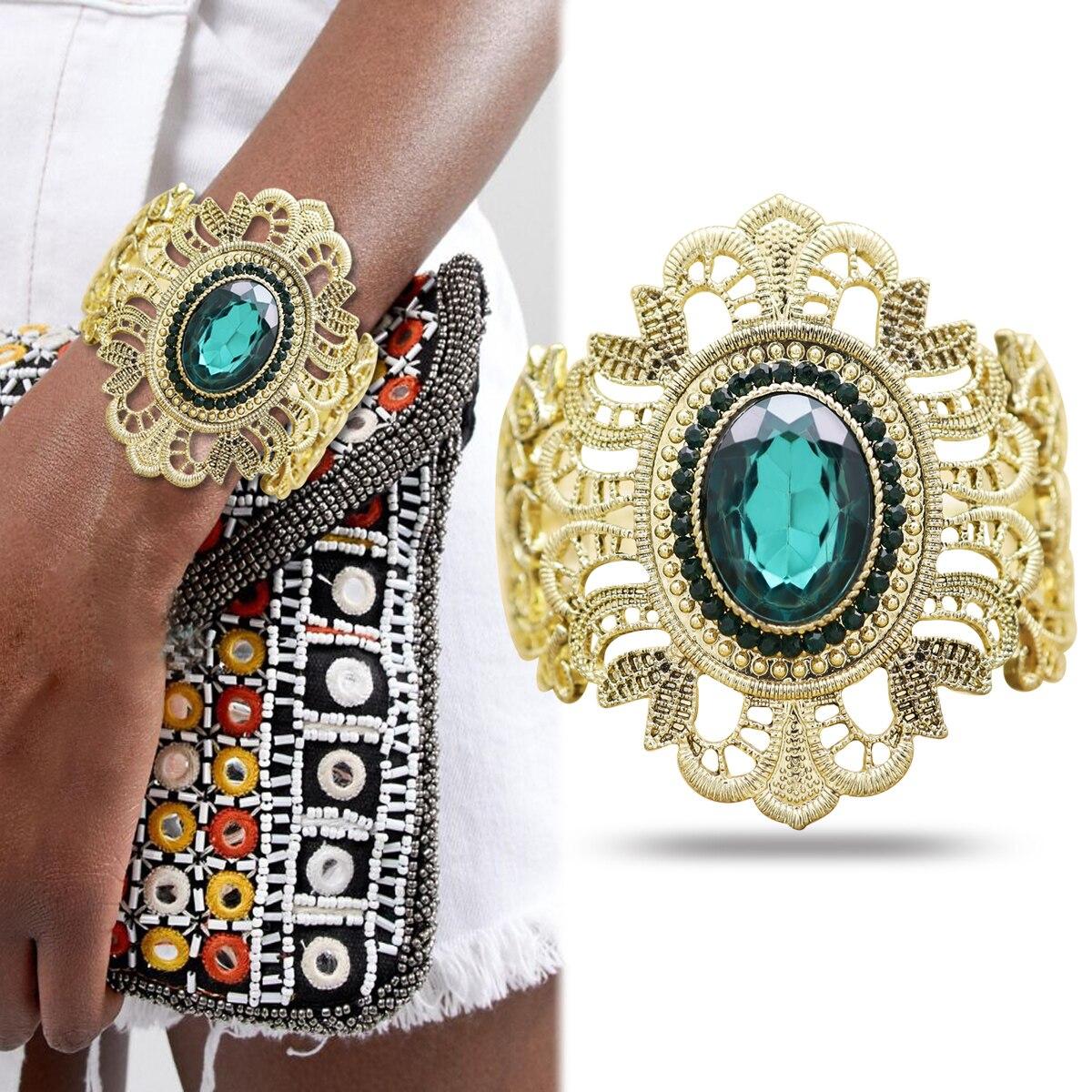 Las mujeres brazalete de pulsera de cristal pulsera joyería oro azul filigrana adornada de Metal con detalle de encaje de moda Pulseira femenina