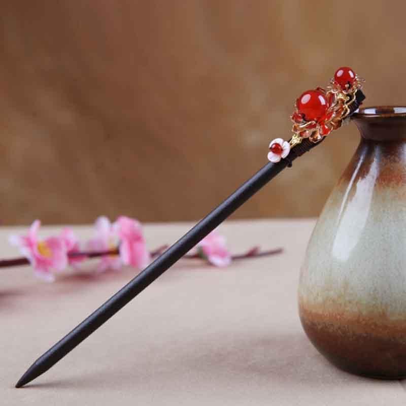 Bastón para el cabello estilo antiguo Kimono clásico Yukata Hanfu accesorio de traje hecho a mano Kanzashi soporte de madera Natural para el cabello marrón HS030