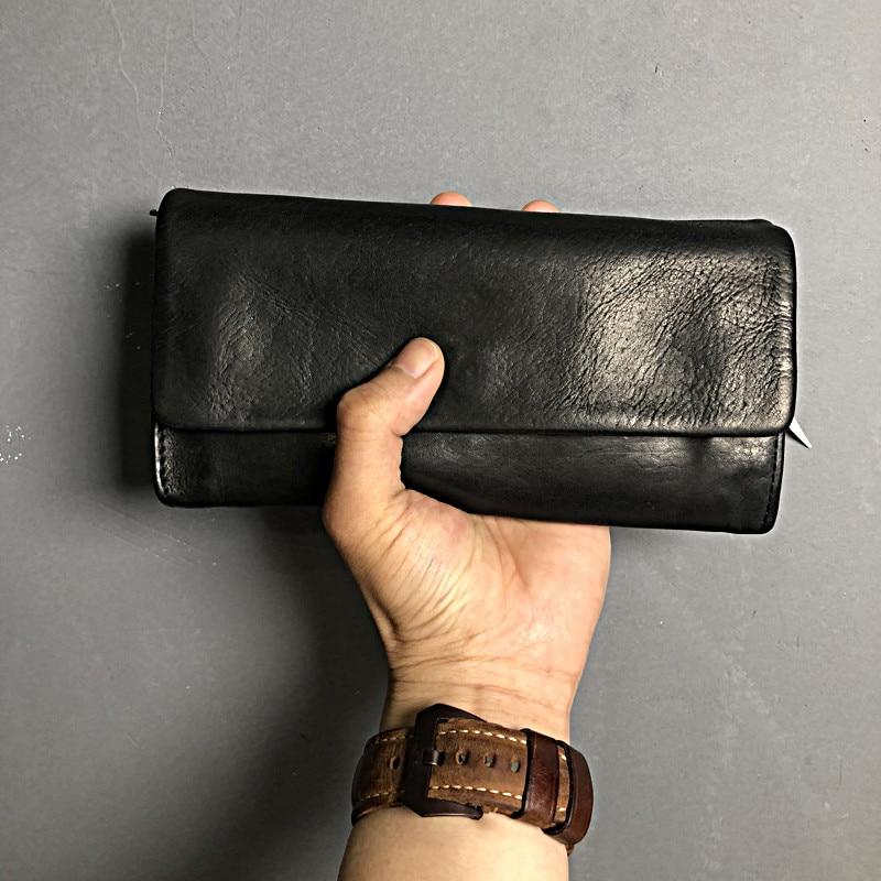 Retro fashion natural genuine leather ladies men's black clutch bag minimalist credit card long wallet real cowhide Clutch bag