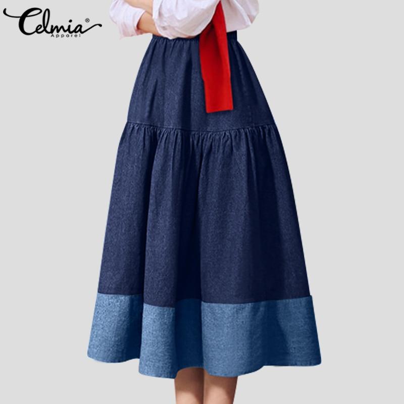 Celmia 2020 Fashion Denim Long Skirts Women High Elastic Waist Office Casual Skirts Patchwork Ruffles Long Party Skirt Plus Size