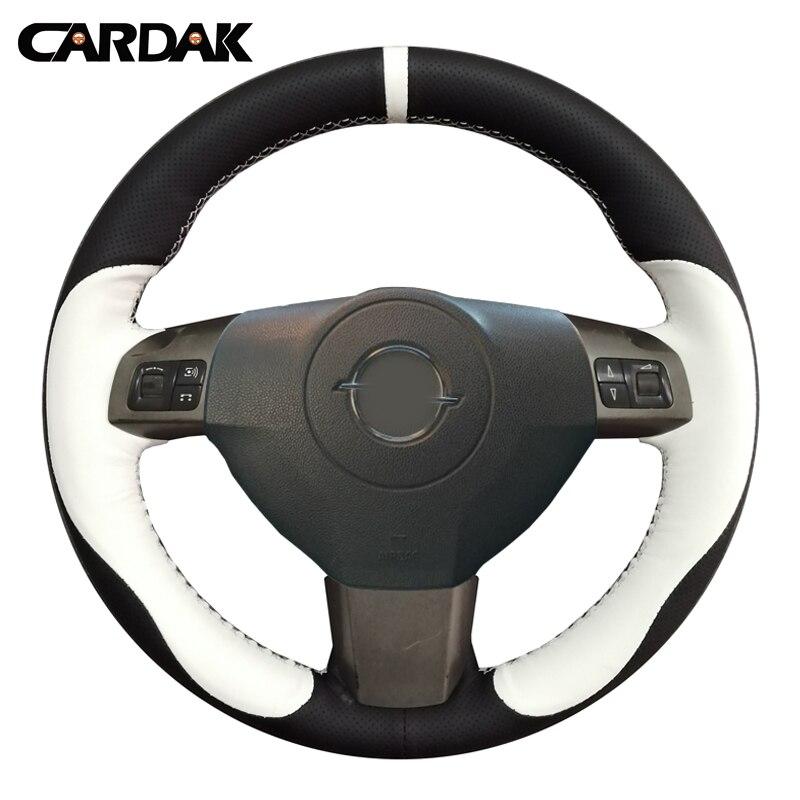 Cubiertas de volante de coche de cuero Artificial negro cosido a mano de CARDAK para Opel Astra 2004-2009 Zaflra 2005-2014 Signum 2005