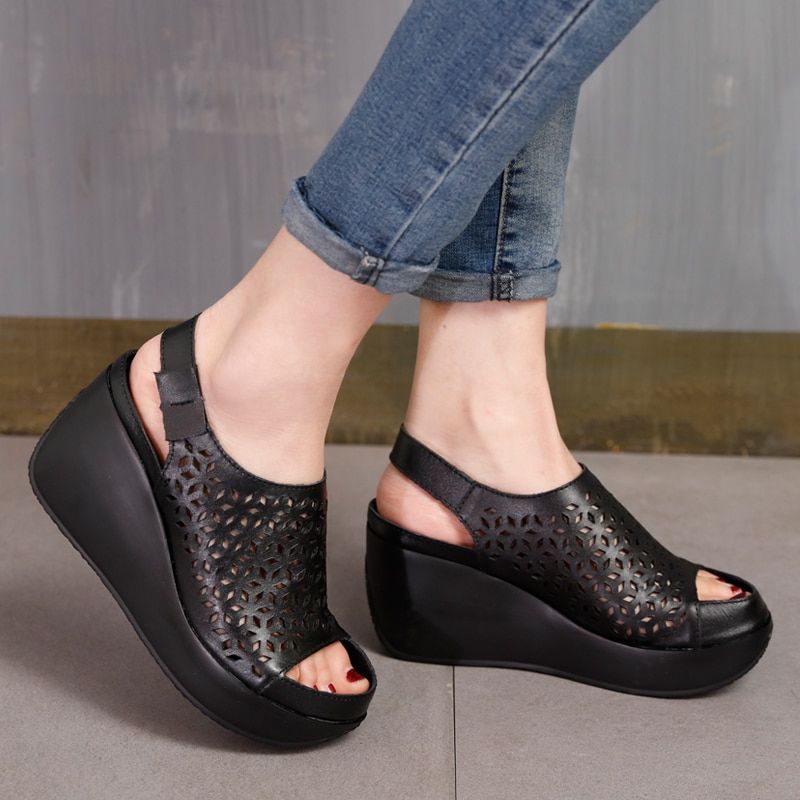 VALLU 2020 summer new hollow sandals high heels first layer leather thick platform wedge sandals